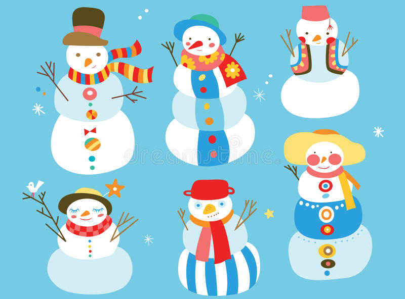 gulliga snowmen vektor illustrationer