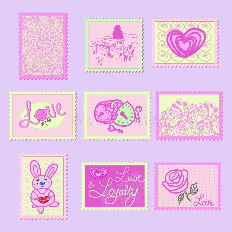 Gulliga stämplar i skuggor av grå färger med bilden av hjärtor, rosor, omfamningar, inskrifter förälskelse och modeller royaltyfri illustrationer