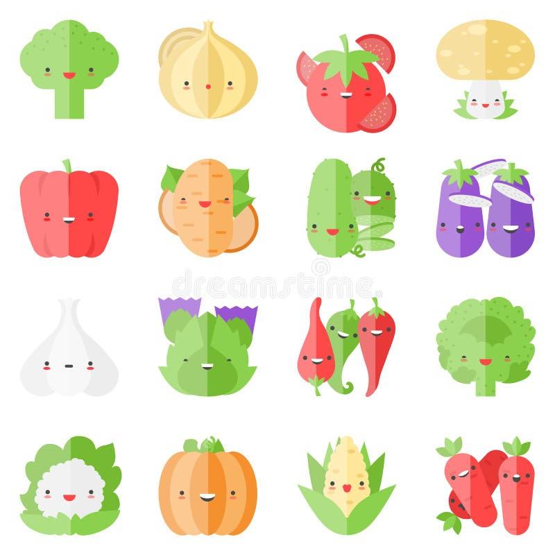 Gulliga stilfulla grönsaker sänker symboler royaltyfri illustrationer