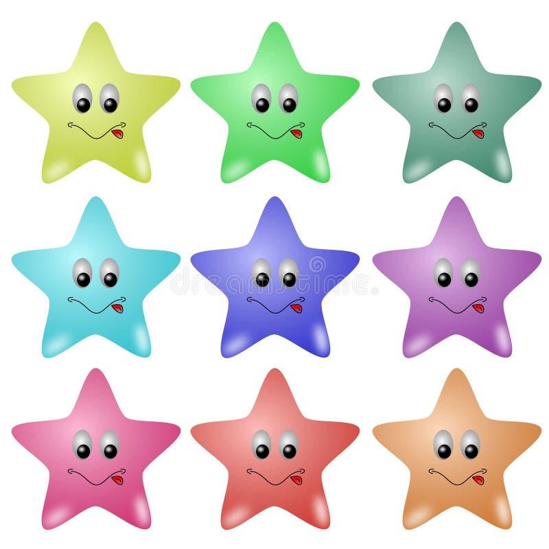 gulliga stjärnor vektor illustrationer