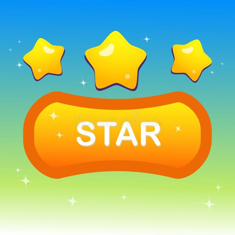 Gulliga stjärnor på stjärnor för för formtextask och blink royaltyfri illustrationer