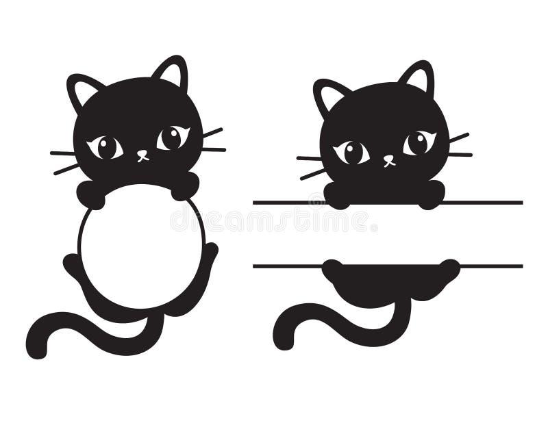 Gulliga svarta Cat Frame Vector Illustration royaltyfri illustrationer