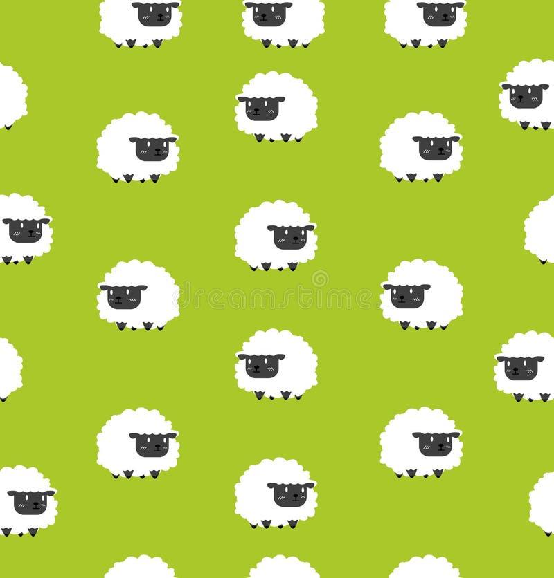 Gulliga svarta små sheeps mönstrar sömlöst royaltyfri illustrationer