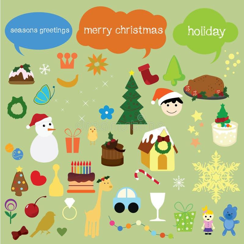 gulliga symboler för julsamlingar stock illustrationer