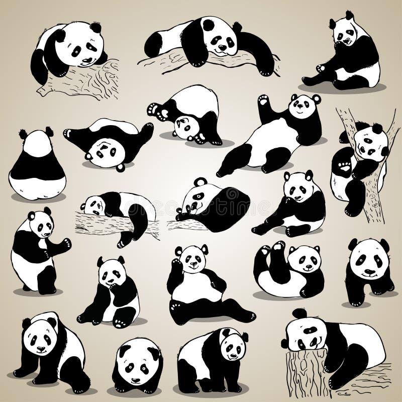 Gulliga symboler för tecknad filmpandauppsättning Svart vit hand dragit klotterdjur stock illustrationer