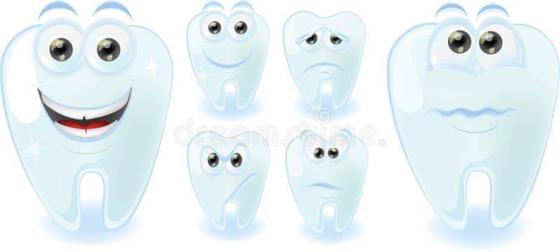 Gulliga tänder för tecknad film med olika sinnesrörelser stock illustrationer