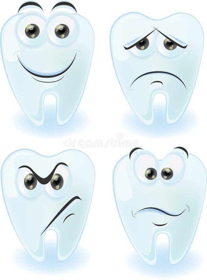 Gulliga tänder för tecknad film med olika sinnesrörelser royaltyfri illustrationer