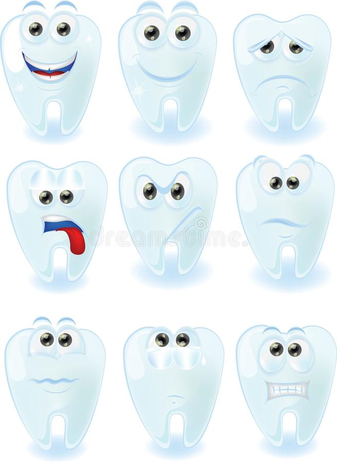 Gulliga tänder för tecknad film med olika sinnesrörelser vektor illustrationer