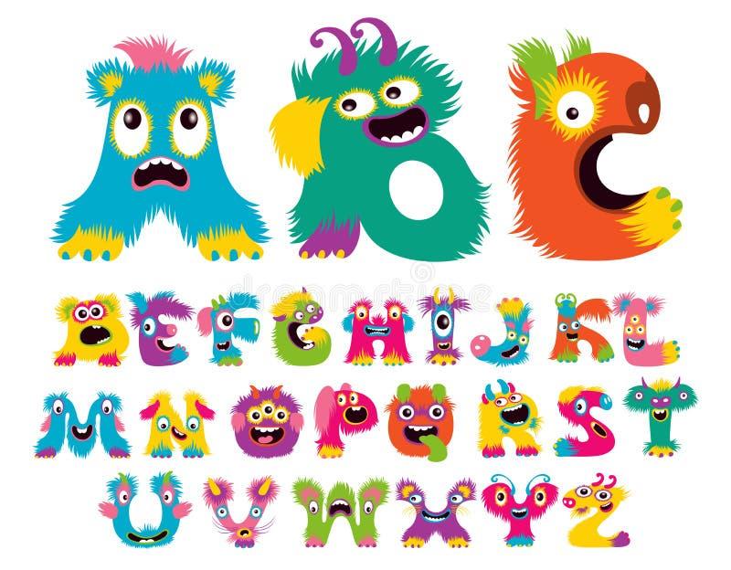 Gulliga tecknad filmbarn och roligt gigantiskt alfabet royaltyfri illustrationer