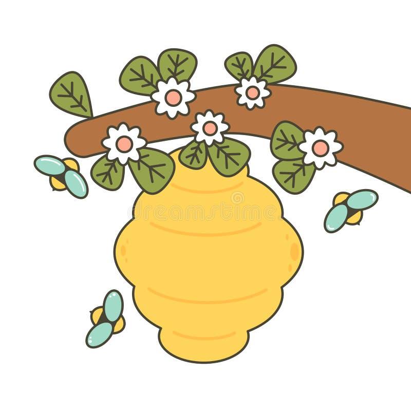 Gulliga tecknad filmbin och bikupavektorillustration stock illustrationer