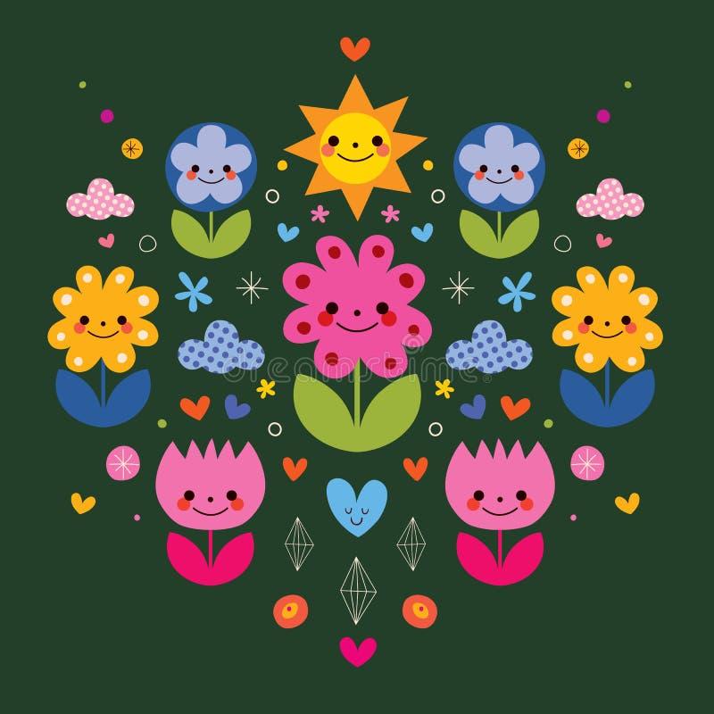 Gulliga tecknad filmblommatecken stiliserade naturillustrationen stock illustrationer