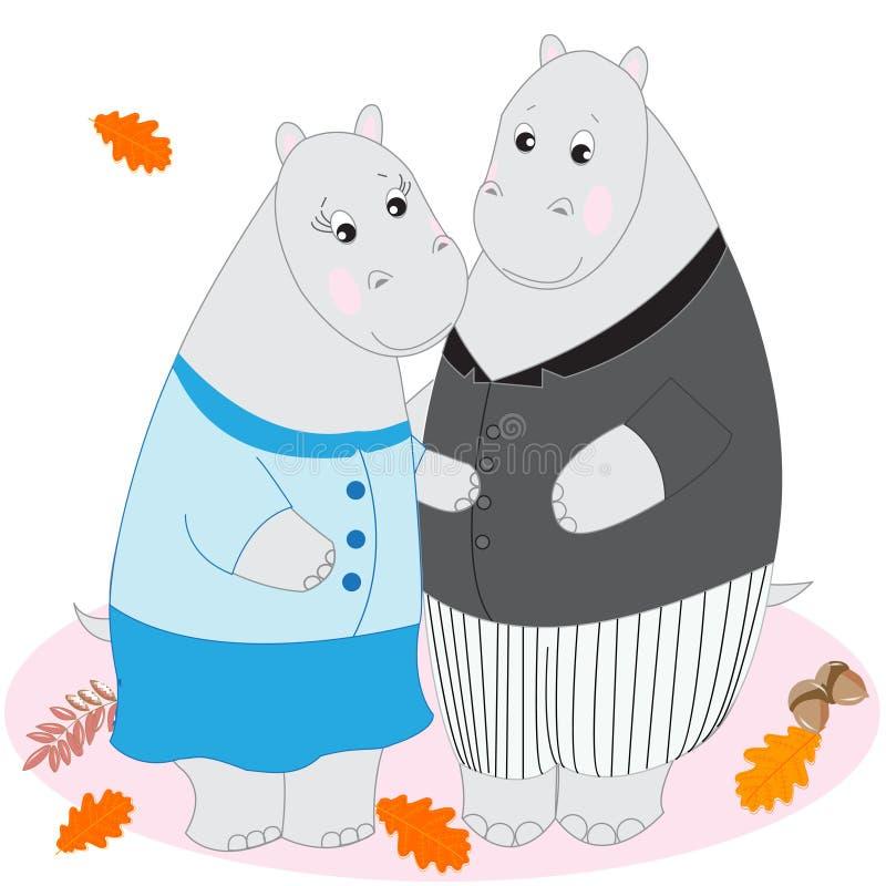 Gulliga tecknad filmdjur, klotterteckningsflodhästar, förälskelse och mjukhet stock illustrationer