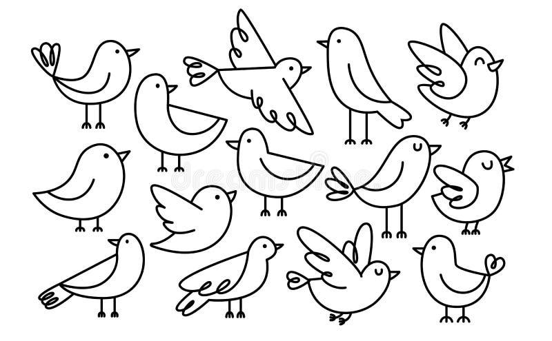 Gulliga tecknad filmfåglar som isoleras på vit bakgrund stock illustrationer