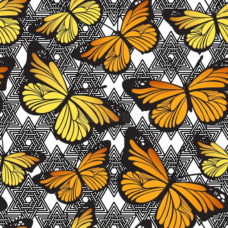 Gulliga tecknad filmfjärilar på den svartvita geometriska linjen textur för klotter vektor royaltyfri illustrationer