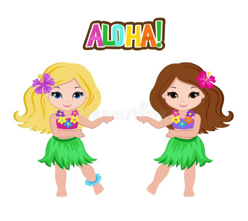 Gulliga tecknad filmflickor i traditionell hawaiansk dansaredräkt stock illustrationer