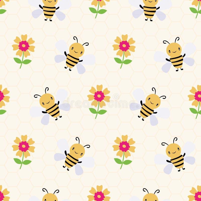 Gulliga tecknad filmhonungbin och blommor på subtil gul honungskakabakgrund seamless vektor f?r modell Behandla som ett barn, utm vektor illustrationer