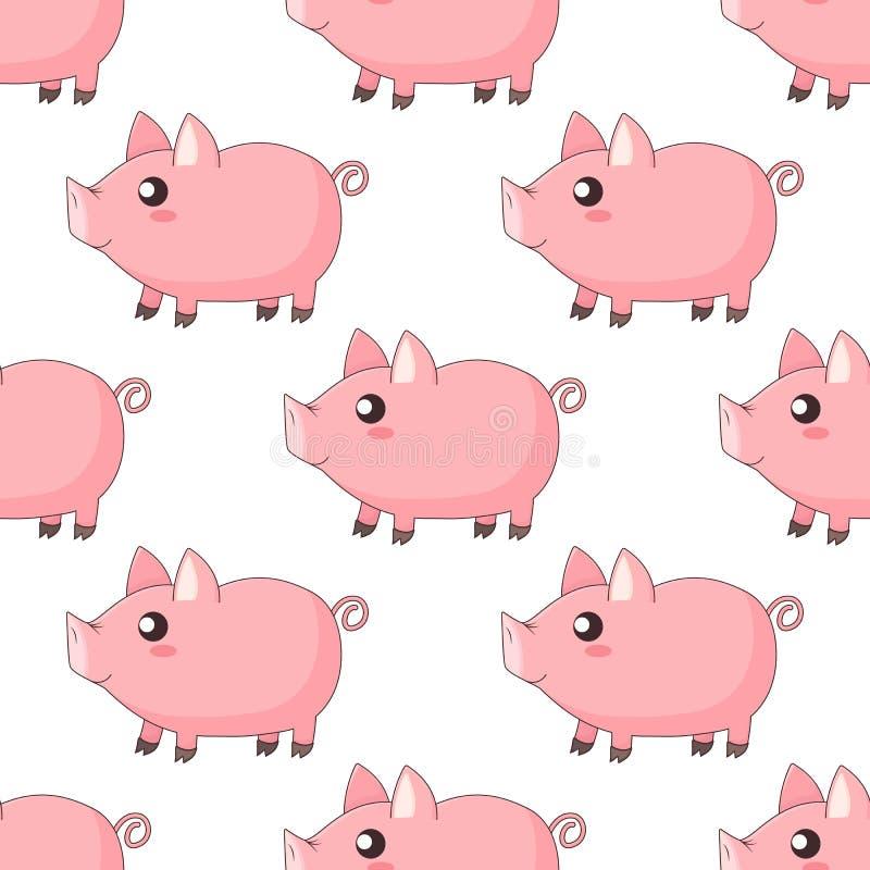Gulliga tecknad filmkawaiispädgrisar, piggy anseende i profil stock illustrationer