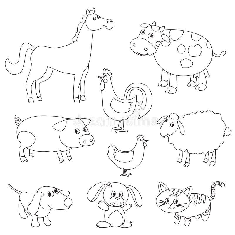 Gulliga tecknad filmlantgårddjur och fåglar för färgläggningbok vektor illustrationer