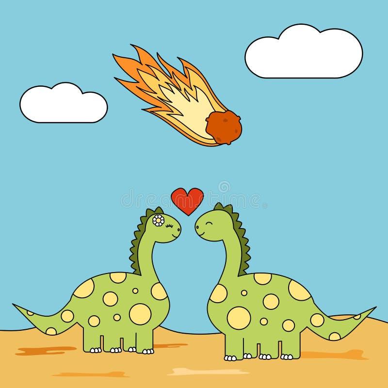 Gulliga tecknad filmpar av dinosaurier som är förälskade under meteor, slår den roliga begreppsillustrationen stock illustrationer