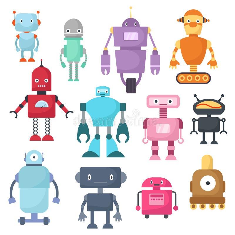 Gulliga tecknad filmrobotar, androiden och astronautcyborgen isolerade vektoruppsättningen vektor illustrationer