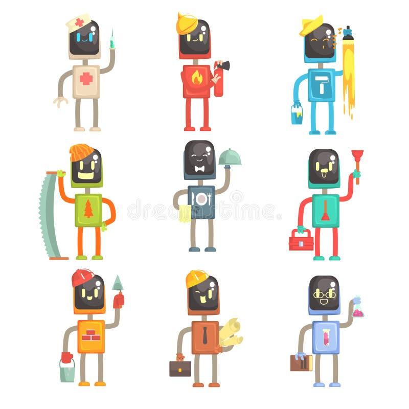 Gulliga tecknad filmrobotar i den olika yrkeuppsättningen av färgrika teckenvektorillustrationer stock illustrationer