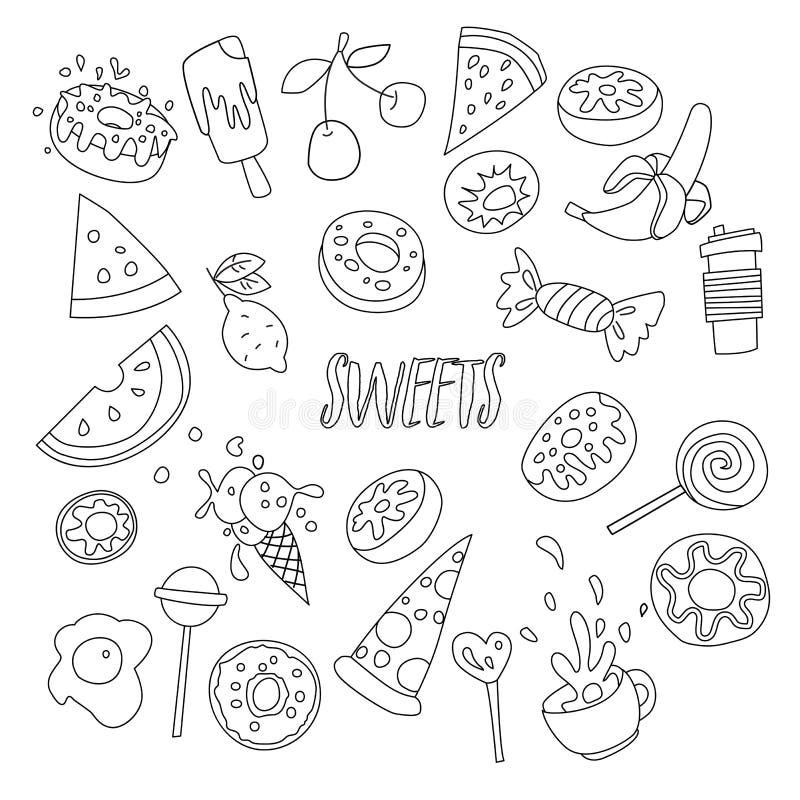 Gulliga tecknad filmsötsaker fodrar symbolsuppsättningen, frukter, bär och söta godisar Alla söta efterrättsymboler Handattraktio vektor illustrationer