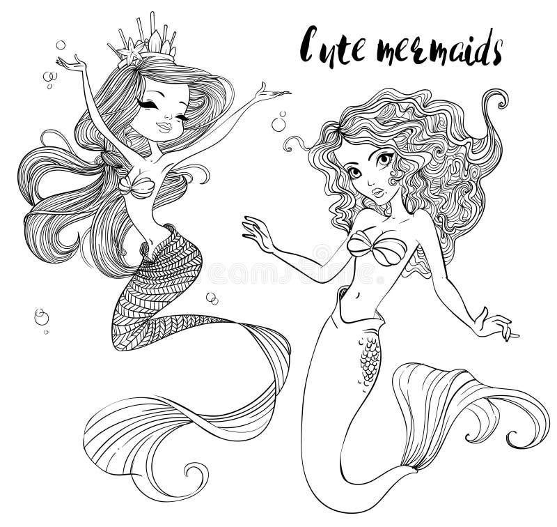 Gulliga tecknad filmsjöjungfruar royaltyfri illustrationer