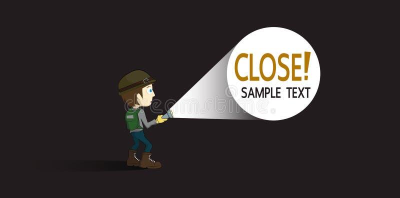 Gulliga tecknad filmungar eller utforskareBoy With ficklampa stock illustrationer