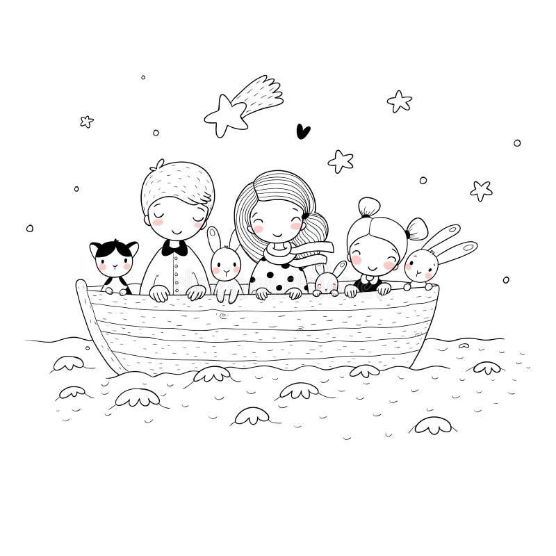 Gulliga tecknad filmungar i fartyget En broder, två lilla systrar, roliga hare och en katt Bästa vän gick på en tur vektor illustrationer