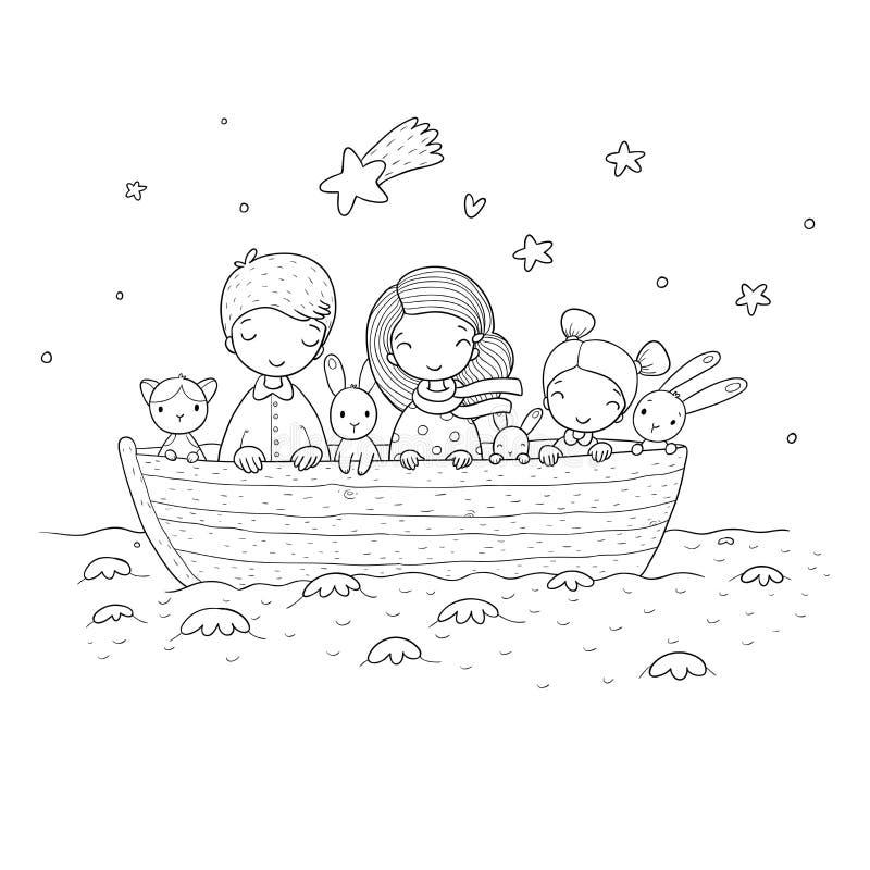 Gulliga tecknad filmungar i fartyget En broder, två lilla systrar, roliga hare och en katt Bästa vän gick på en tur stock illustrationer