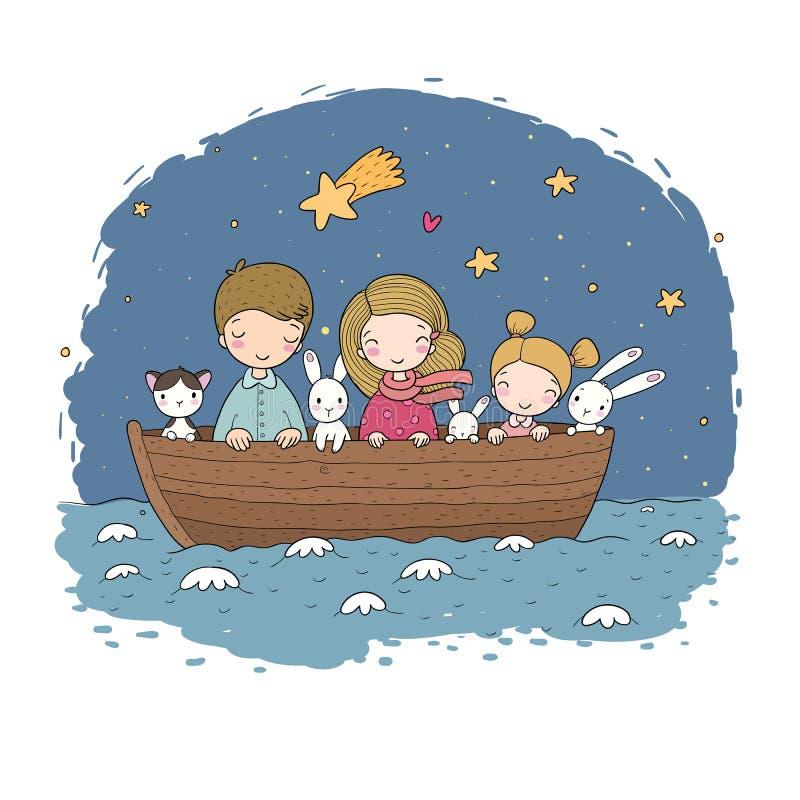 Gulliga tecknad filmungar i fartyget En broder, två lilla systrar, roliga hare och en katt Bästa vän gick på en tur royaltyfri illustrationer