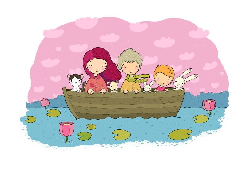 Gulliga tecknad filmungar i fartyget roliga hare och en katt Bästa vän gick på en tur vektor illustrationer