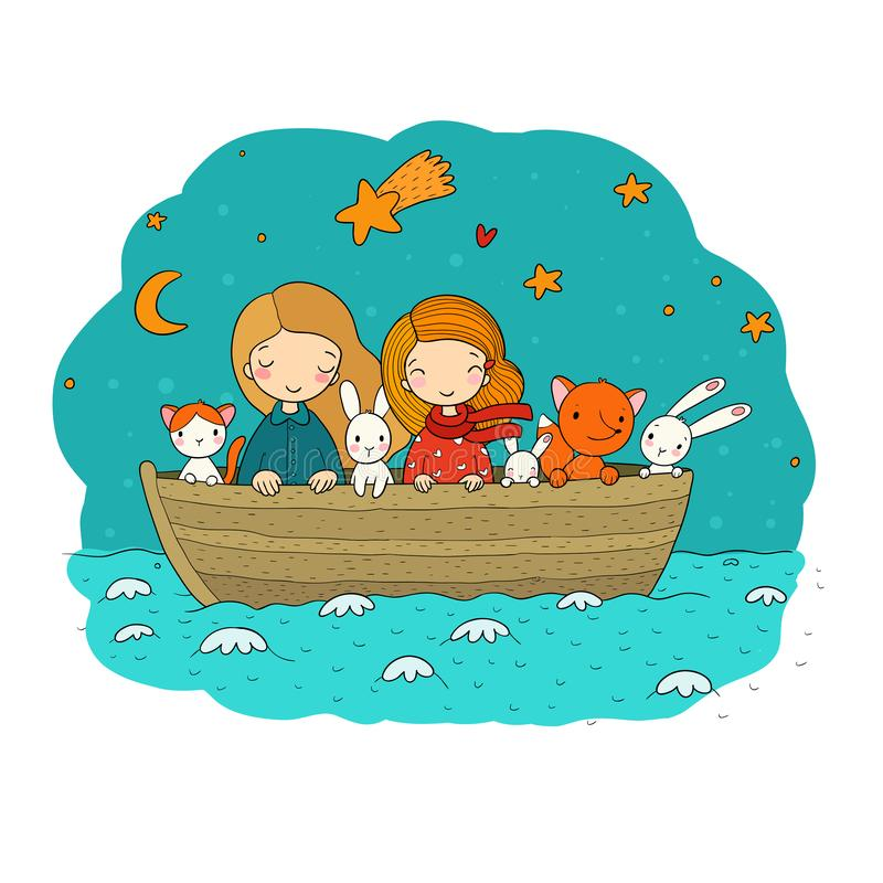 Gulliga tecknad filmungar i fartyget två lilla systrar, roliga hare och en katt Bästa vän gick på en tur stock illustrationer