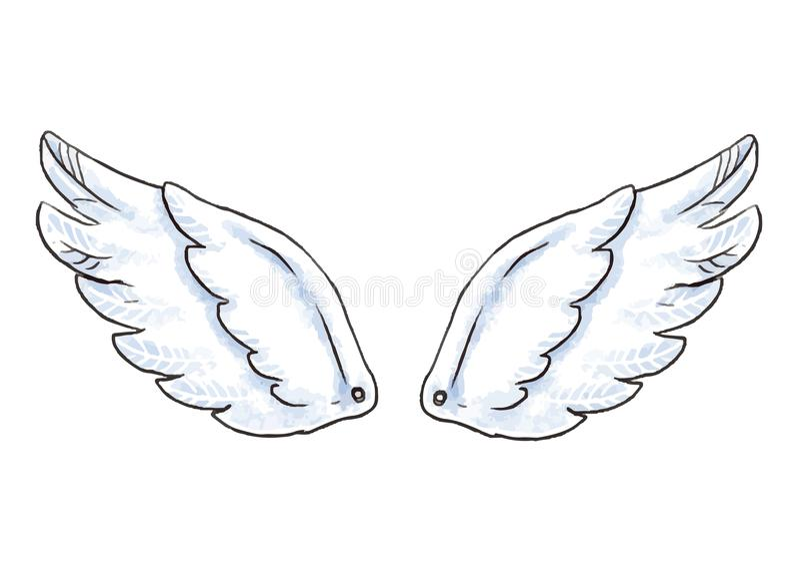 Gulliga tecknad filmvingar Vektorillustration med vita den isolerade ängel- eller fågelvingsymbolen stock illustrationer