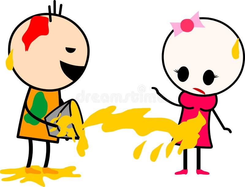Gulliga tecknade filmer pojke och flicka som spelar med färger royaltyfri illustrationer
