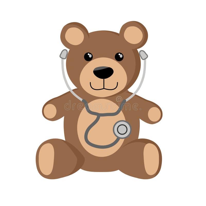 Gulliga Teddy Bear med stetoskopet stock illustrationer