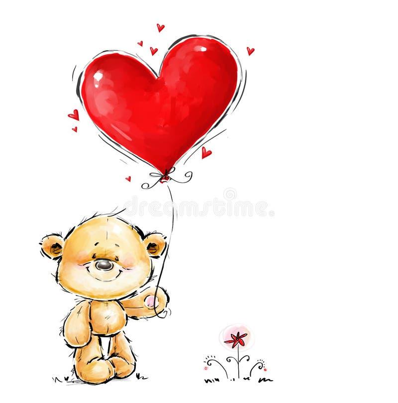 Gulliga Teddy Bear som är förälskad med den stora röda hjärtaballongen Förälskelsebjörn royaltyfri illustrationer