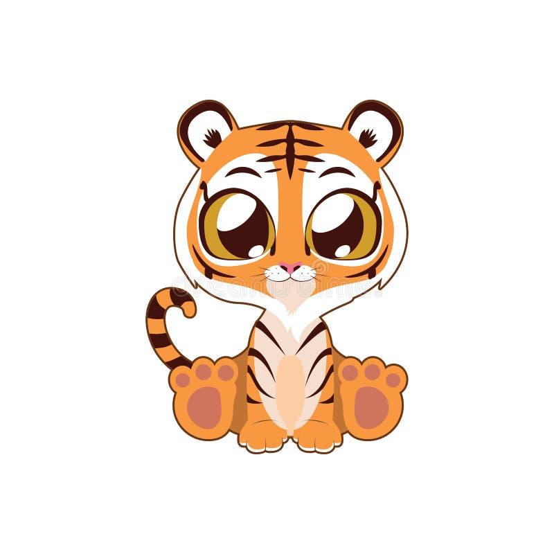 Gulliga Tiger Vector Illustration Art royaltyfri illustrationer