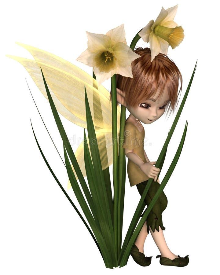 Gulliga Toon Daffodil Fairy Boy royaltyfri illustrationer