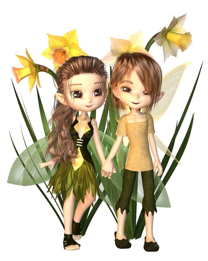Gulliga Toon Daffodil Fairy Boy och flicka vektor illustrationer