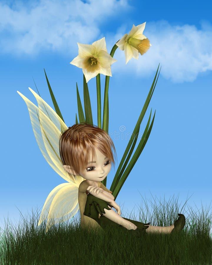 Gulliga Toon Daffodil Fairy Boy på en Sunny Spring Day vektor illustrationer