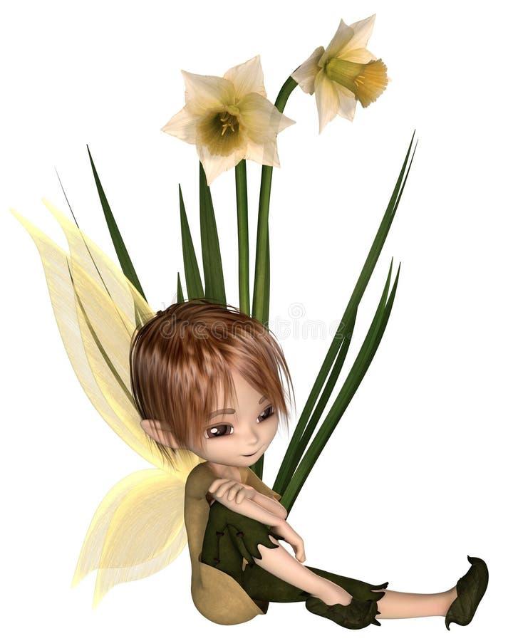 Gulliga Toon Daffodil Fairy Boy som sitter royaltyfri illustrationer