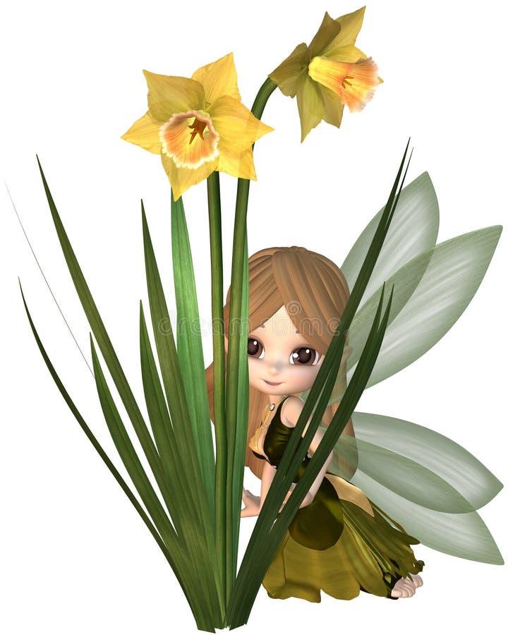 Gulliga Toon Daffodil Fairy som döljer stock illustrationer