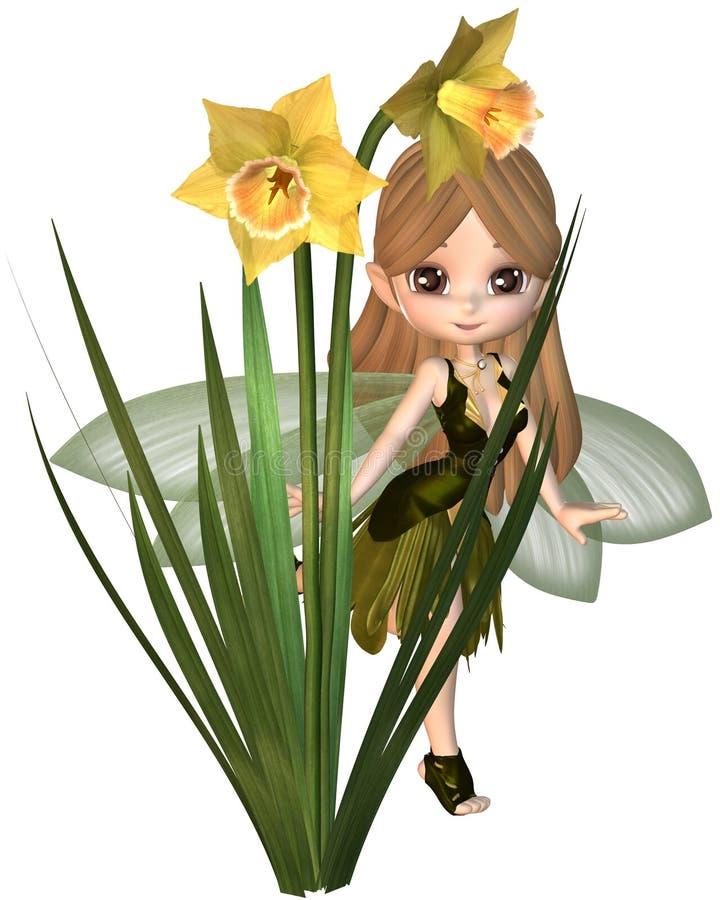 Gulliga Toon Daffodil Fairy som hoppar over royaltyfri illustrationer