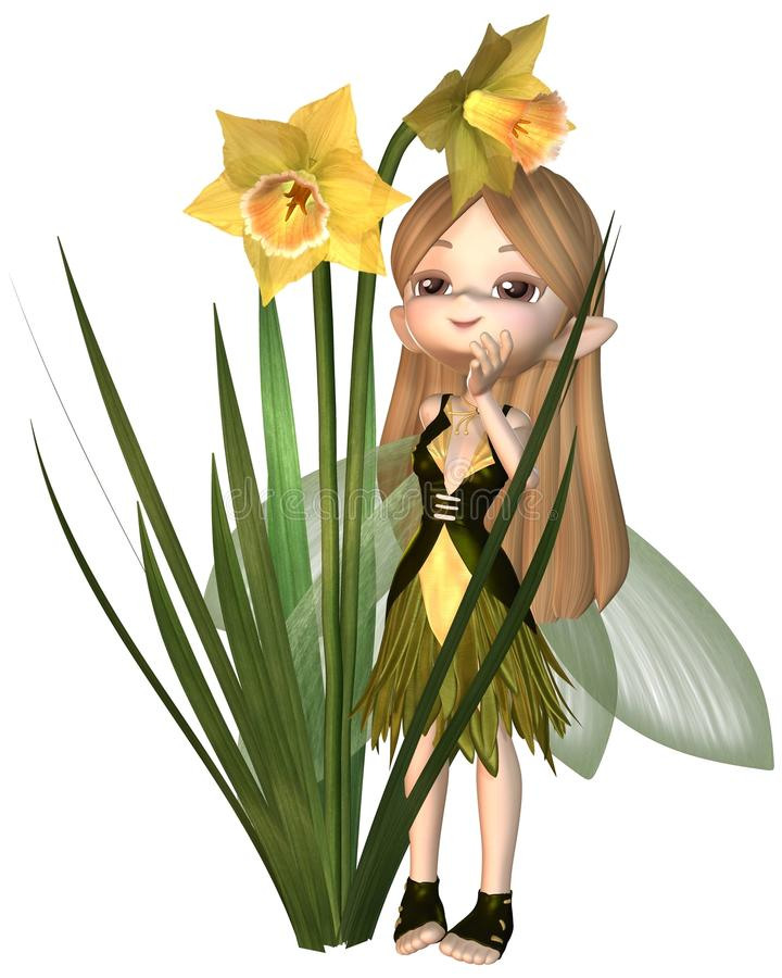 Gulliga Toon Daffodil Fairy som står royaltyfri illustrationer