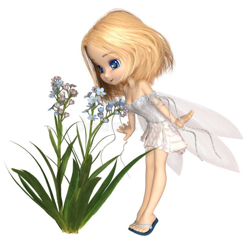 Gulliga Toon Forget-Me-Not Fairy vektor illustrationer