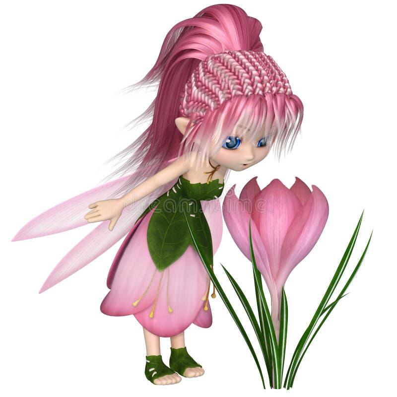 Gulliga Toon Pink Crocus Fairy som står vid en blomma royaltyfri illustrationer