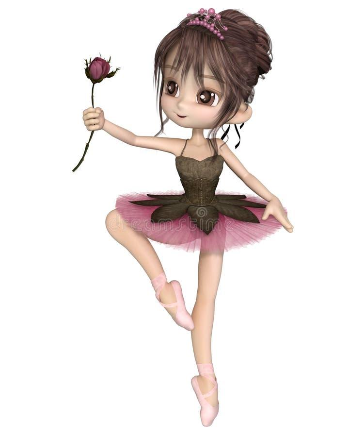 Gulliga Toon Pink Rose Ballerina royaltyfri illustrationer
