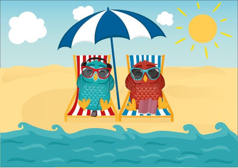 Gulliga två ugglor med solglasögon på semestern som ner ligger på stranden royaltyfri illustrationer