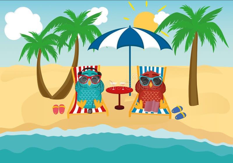 Gulliga två ugglor med solglasögon på semestern som ner ligger på stranden stock illustrationer